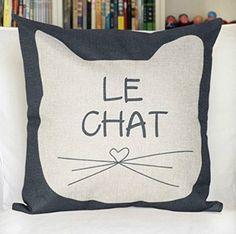 Amazon.com - 18 x 18 Inch Cotton Linen Home Decorative Sofa Throw Pillow Cover Cushion Case(LE CHAT) -
