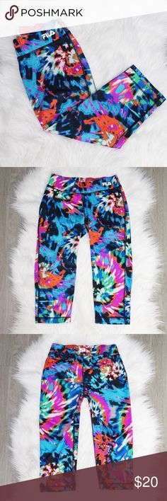 """Fila Tie Dye Athletic Crops ▪️ Condition: Excellent, Pre-owned ▪️ Length 25.5"""" ▪️ Size XS ▪️88% Polyester 12% Spandex Fila Pants Leggings"""