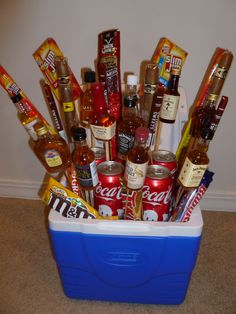 Fun item for a fraternity auction. Whiskey, cigars & snacks in a cooler.