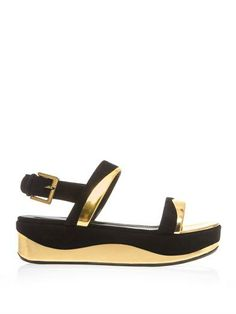 I'm thinking gold to spring/summer up all my black! Leather and suede flatform sandals | Sergio Rossi | MATCHESFAS...