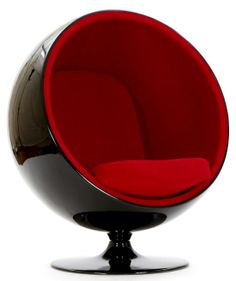 Eero Aarniou0027s Ball Chair / Black Fiberglass And Red Inside.
