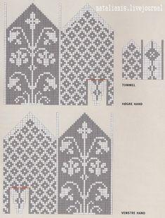 View album on Yandex. Knitting Charts, Knitting Socks, Knitting Stitches, Knitting Patterns, Knitted Mittens Pattern, Crochet Mittens, Knitted Gloves, Crochet Chart, Bookmarks