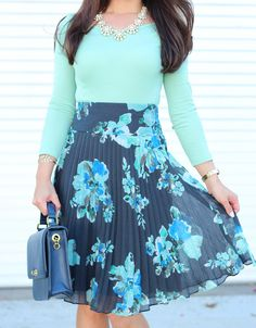 StylishPetite.com   Floral Pleats and Mint (plus altering a size 16 skirt)