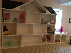 My dream you storage wall of a playroom Casa American Girl, American Doll House, American Girl Crafts, Doll House Plans, Barbie Doll House, Girls Dollhouse, Diy Dollhouse, Barbie Furniture, Girl Doll Clothes