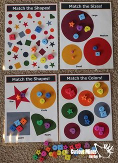 Shapes/Colors/Sizes Busy Bag (learning activity) for Toddlers and young children.  Self-contained activity that you can pack and pull out when needed. $8.50, via Etsy.