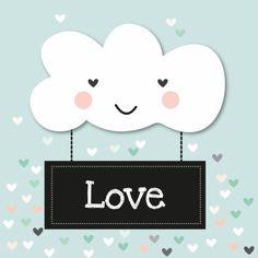 Een Wolkje liefde - Valentijnskaarten - Te vinden op www.Kaartje2go.nl