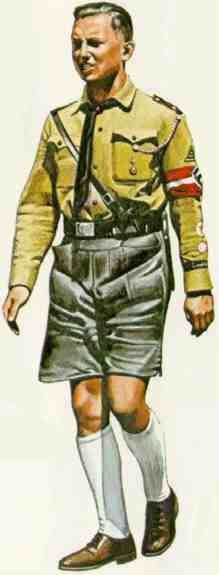 This Hitler Youth wears the summer uniform with black lederhosen, a popular choice for boys involved in outdoor activities.