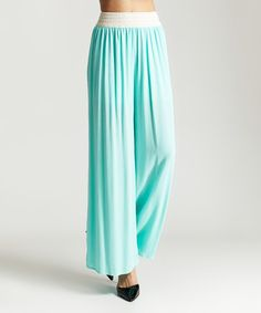 Another great find on #zulily! Mint Crochet-Waist Palazzo Pants #zulilyfinds