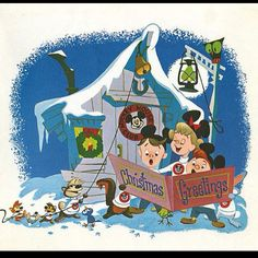 A Disney Christmas card from 1955 featuring the original Mickey Mouse Club.