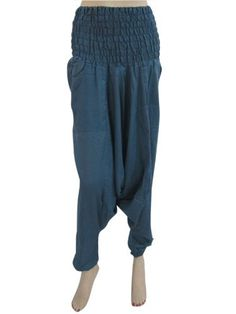 Leyben Womens Pants Ladies Summer Shorts Loose Baggy Sport Harem Capris Wide Leg Elastic Waist Boho Check Yoga Pants (Small Navy)