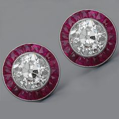Art Deco earrings with old mine-cut diamonds and rubies in antique style, platinum