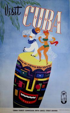 Visit #Cuba 1950s #Travel Poster  TravelPhotoTours.com