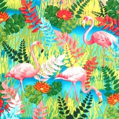 Sew Rousseau Flamingo Fabric by Kanvas Studios is a bold and colourful design featuring gorgeous pink flamingo's frolicking amongst a bright tropical foliage background. This fabric is suitable for clothing, cushions, quilts, bedding, table linen, light weight curtains, bags, purses/totes plus other crafts and home accessories. | eBay!