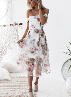 Slash Neck Floral Printed Net Yarn Splicing Dress | victoriaswing