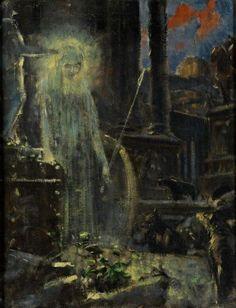 Adolf Hirémy-Hirschl Nightly apparition Oil on canvas Arte Horror, Horror Art, Art Nouveau, Esoteric Art, Sad Art, Art Database, Classical Art, Office Art, Fantastic Art