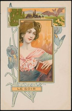 Art Nouveau postcard (French)   Le Soir by F. G.  Image and text courtesy MFA Boston.