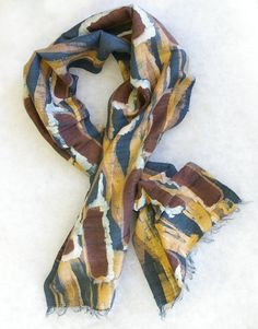 Hand Painted Silk Scarf - Bulrushes in Browns Navy and Golds - Thick Dupioni Silk Mans Scarf (approx. 12x60 inches) by Laura Elderton