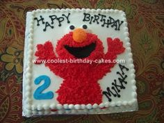 Elmo Cake: I baked my Elmo cake in a 14 x 14 square pan using 2 cake mixes. I took out about a cup of the batter and baked in a small glass mixing bowl for Elmo's