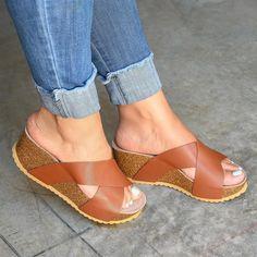 Platform Sandals Heels For Women Tommy Hilfiger Platform Sandal Size 5 Wedge Sandals, Wedge Shoes, Slingback Sandal, Shoes Sandals, Barefoot Sandals Wedding, Velcro Shoes, Ankle Strap Heels, Buy Shoes, Leather Heels