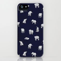 Indian Baby Elephants in Navy iPhone & iPod Case by Estelle F - $35.00 OOH i like this one better