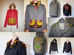 sweat et vestes personnalisés en tissu wax africain. Céwax personnalise vos vêtements avec du pagne et met des touches de couleurs dans votre dressing. www.cewax.fr
