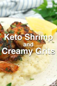 A low-carb and keto-friendly grits recipe made with shrimp, cheese and cauliflower. It's a perfect keto meal for lunch and dinner. Keto Shrimp Recipes, Healthy Diet Recipes, Raw Food Recipes, Low Carb Recipes, Diabetic Snacks, Recipes Dinner, Dessert Recipes, Ketogenic Diet Meal Plan, Diet Meal Plans