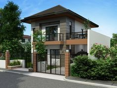 Two Storey House Plan with Balcony - Pinoy House Plans Zen House Design, Bungalow Haus Design, Two Story House Design, 2 Storey House Design, Simple House Design, Small Bungalow, Home Design, Two Storey House Plans, Double Storey House