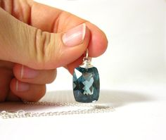 Large  London Blue Topaz Sterling Silver Pendant by JustDangles, $142.00