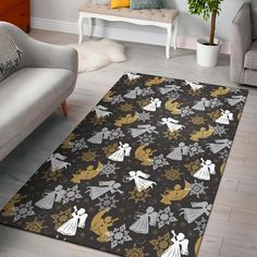 Angel Snowflake Print Pattern Home Decor Rectangle Area Rug Trendy Colors, Vivid Colors, Living Room Carpet, Living Room Decor, Rectangle Area, Great Housewarming Gifts, Carpet Stairs, Beautiful Living Rooms, Floor Decor