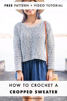 Mode Crochet, Easy Crochet, Knit Crochet, Tutorial Crochet, Crochet Sweaters, Crochet Cardigan Pattern, Crochet Blouse, Crochet Patterns, Crochet Sweater Design