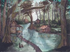 Bayou Art, Watercolor Print, Swamp Painting, Landscape, Green and Brown Decor, Rustic Art, Folk Art Painting, Country Home Decor