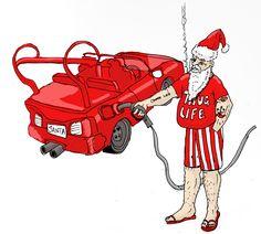 santa fills up his pimped up car / sleigh!