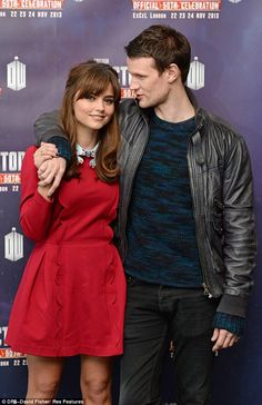 Good pals: Jenna-Louise Coleman and Matt Smith who posed on the red carpet together looked comfortable in each others company