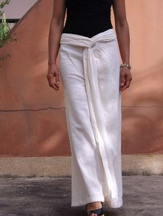 Wide Leg Pants ...Dress Pants ..Natural Cotton by Ablaa on Etsy, $36.00
