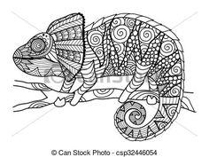 Afbeeldingsresultaat voor kameleon tekening
