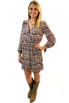 Burgundy and Cream Tribal - $49.95 - The beautiful Burgundy and Cream Tribal Dress has an Aztec Tribal print in Burgundy though out the cream colored dress.  | available at https://www.envyboutique.us/product/burgundy-cream-tribal/ |  #Envy #Boutique #fashion #fashiontrends