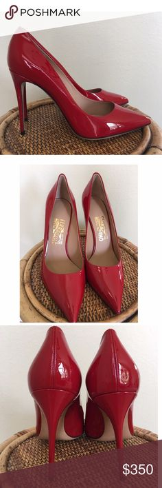 """Salvatore Ferragamo Fiore 100 Patent Pump Brand new in box.  Gorgeous shoes.  Made In Italy Color/Material: Rosso Patent Leather Lightly Padded Leather Insole Smooth Leather Sole 4.0""""  Heel.  Comes with one pair of extra heel taps.  🔵PLEASE KNOW YOUR SHOE SIZING IN THIS BRAND🔵 🚫TRADES/LOWBALL OFFERS🚫 Salvatore Ferragamo Shoes Heels"""