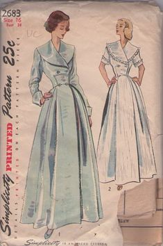 MOMSPatterns Vintage Sewing Patterns - Simplicity 2683 Vintage 40's Sewing Pattern GORGEOUS Film Starlet Platter Collar Double Breasted Buttons Full Floor Length Skirt Dressing Gown, House Coat, Hostess Robe