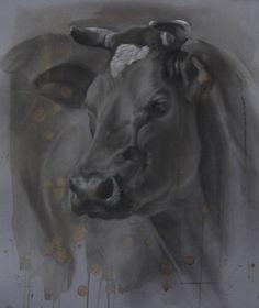 Jennifer Koning portret van Belgisch Blauw Francien, houtskool en wit krijt