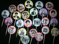 24 1D one direction cupcake toppers birthday party favor by ryv999, $4.99