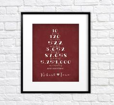 Gift for Husband Fiance Boyfriend Anniversary Gift - 8x10 Personalized Art Print, Numbers, Date, Unique, And Counting