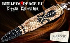 Black Crystals, Swarovski Crystals, Peaceful Words, Bullet Casing, Crystal Collection, Silver Jewelry, Fashion Jewelry, Beaded Bracelets, Pendants
