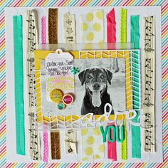 Lawn Fawn - Hello Sunshine 12x12 paper, Hello Sunshine Flair, Tag You're It Lawn Cuts die _ Beautiful layout by Melissa for the Lawn Fawn blog: May Arts Day 1