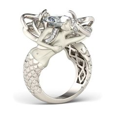 Cushion Cut Created White Sapphire Rhodium Plated Sterling Silver Women's Mermaid Engagement Ring