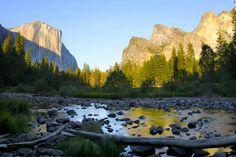 Sunrise in Yosemite Valley looking onto El Capitan and Cathedral Rocks. Courtesy of MacGillivray Freeman Films. Photographer: Barbara MacGillivray  #NationalParksAdventure
