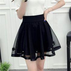 4d18b05c6f 2018 New Spring Summer Women Black Mini Skirt Korean Elastic High Waist  Skirt Shorts Sweet Mesh Tulle Umbrella Skirt Falda Tul