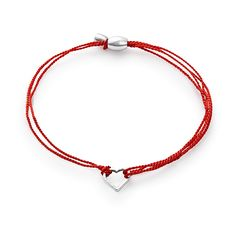 Silver (RED)® Heart Pull Cord Bracelet | Global Fund | ALEX AND ANI