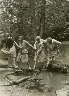 1920's women sporting knit skirts, tops and cardigans.