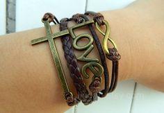 bracelet brown wax braceletsHope bracelet  cross by jewellrydesign, $10.29