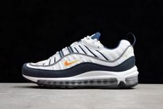 official photos a1744 25c2d Original Mens Nike Air Max 98 OG White Blue Orange Metallic Silver 640744-104  New